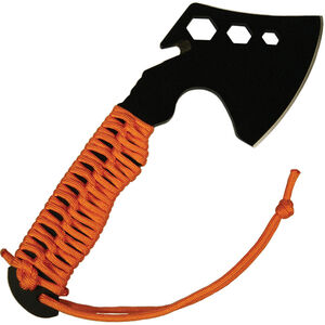 Ultimate Survival Technologies ParaHatchet FS Plain Edge Hatchet Stainless Steel Blade Orange Paracord Handle Black Oxide Finish Nylon Sheath 20-02227-08