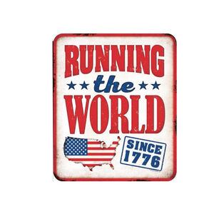 """Open Road Brands Running the World Tin Sign 12""""H x 10""""W Embossed"""