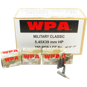 Wolf Military Classic 5.45x39mm Ammunition 750 Rounds JHP 55 Grains