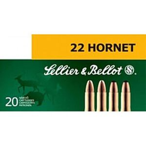 Sellier & Bellot .22 Hornet Ammunition 20 Rounds, FMJ, 45 Grains
