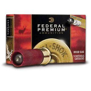 "Federal Vital-Shok 12 Gauge Ammunition, 1oz Rifled HP Slug, 5 Rounds, 2.75"" Shell"
