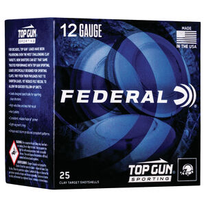 "Federal Top Gun Sporting 12 Gauge Ammunition 2-3/4"" Shell #7.5 Lead Shot 1 oz 1250 fps"
