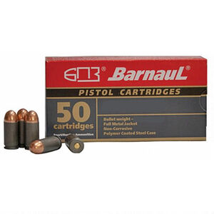 Barnaul Pistol Cartridges .380 ACP Ammunition 50 Rounds 94 Grain Full Metal Jacket Polycoated Steel Cased Cartridges