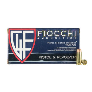Fiocchi 10mm Auto Ammunition 50 Rounds JHP 180 Grains