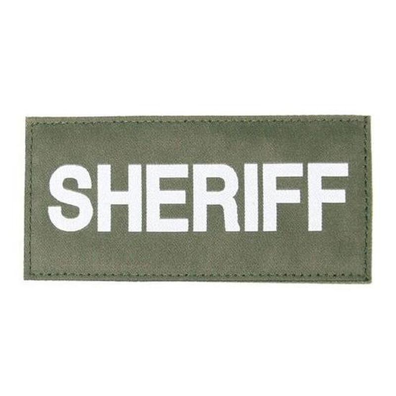 "BLACKHAWK! Sherriff Patch 2.5x5.5"" Hook and Loop back White on Green"