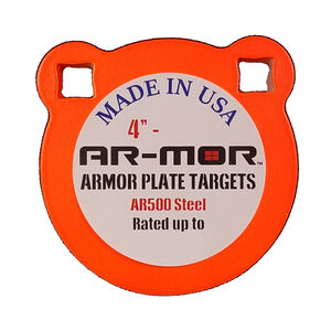 """AR-Mor Armor Plate Targets 4"""" AR500 Gong Steel Shooting Target 1/2"""" Thick Pre-Painted/Ready to Use Orange Finish"""
