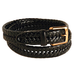 "Galco Gun Leather Braided Leather Belt With Brass Buckle 30"" Waist Black SB2030B"