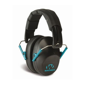 Walker's Game Ear Pro Low Profile Folding Ear Muffs NRR 31 dB   Black with Teal