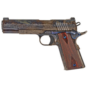 """Standard Manufacturing 1911 .45 ACP Semi Auto Pistol 5"""" Stainless Steel Match Barrel Tactical Sights Engraved #1 Rosewood Double Diamond Grips Color Case Hardened Finish"""