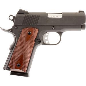 "American Tactical Imports Titan 1911 Officer Semi Auto Pistol .45 ACP 3.125"" Bull Barrel 7 Rounds Low Profile Sights Checkered Wood Grips Blued Finish ATIGFX45TIB"