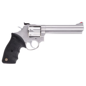 """Taurus Model 66 Double Action Revolver .357 Magnum 6"""" Barrel 7 Rounds Fixed Front/Adjustable Rear Sights Soft Rubber Grip Matte Stainless Steel Finish"""