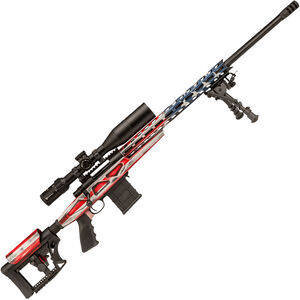 "Howa American Flag Chassis .223 Rem Bolt Action Rifle 20"" Barrel 10 Rounds APC Aluminum Chassis M-LOK Forend Luth-AR MBA-4 Stock Battleworn RWB US Flag/Black Finish"