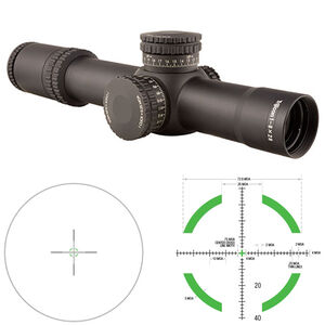 Trijicon AccuPower 1-8x28 Riflescope Illuminated Segmented Circle Crosshair Green LED Reticle First Focal Plane 34mm Tube .25 MOA Adjustments CR2032 Battery Aluminum Housing Matte Black