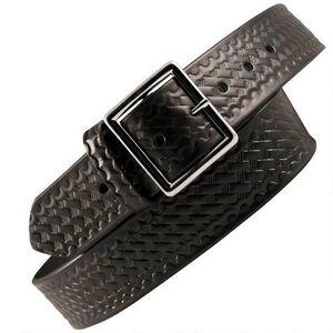 "Boston Leather 6505 Leather Garrison Belt 30"" Nickel Buckle Basket Weave Leather Black"