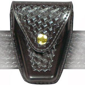 Safariland Model 190 Handcuff Pouch Hinged Cuffs Top Flap Brass Snap SafariLaminate Basket Black 190H-4B