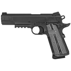 "Colt Combat Unit Rail 1911 Government Model 9mm Luger Semi Auto Pistol 5"" Barrel 9 Round Novak Sights G10 Gray Scallop Grips PVD Black Finish"