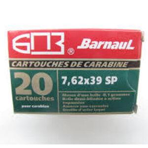 Barnaul Rifle Cartridges 7.62x39 Soviet Ammunition 20 Rounds 125 Grain Soft Point Lacquered Steel Cased Cartridges