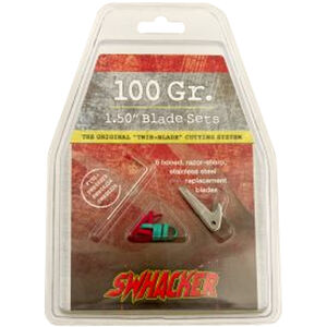 "Swhacker Products Set of 6, 1.5"" Broadhead Replacement Blades Stainless Steel 6 Blades with Shrink Tubing SNJ-580-M4NBY"