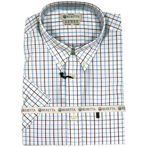 Beretta Special Purchase Men's Classic Drip Dry Shirt Short Sleeve Medium White Checkered