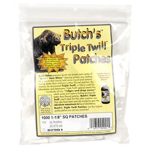 """Butch's Triple Twill Patches .22 to .270 Caliber 1-1/8"""" Square 1000 Patches"""