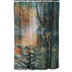 River's Edge Products Deer Shower Curtain 70 Inches x 72 Inches 755