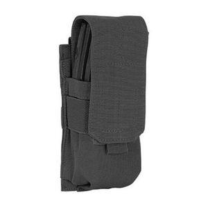Voodoo Tactical AR-15/M4/M16 Single Magazine Pouch Hook/Loop Flap PALS Webbing Compatible Nylon Black 20-7333001000