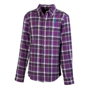 Browning Gear Youth Flannel Plaid Long Sleeve Shirt Medium Purple With Buckmark Logo