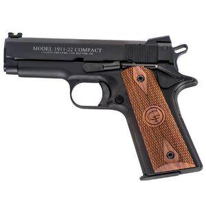 "Chiappa Firearms 1911-22 Compact Semi Automatic Rimfire Pistol .22 Long Rifle 4"" Barrel 10 Rounds Walnut Grips Black Finish CF401-100"