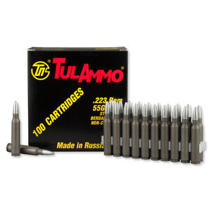 TulAmmo .223 Remington Ammunition 55 Grain Zinc Plated Hollow Point Steel Case 2953fps