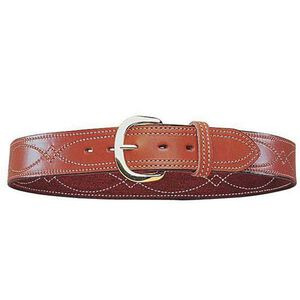 "Bianchi B9 Fancy Stitched 1.75"" Belt Leather Size 42 Brass Buckle Plain Tan"
