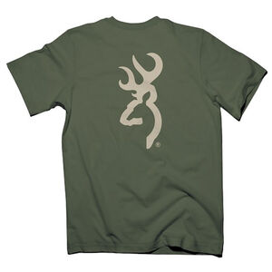 Browning Men's Buck Mark Tee Shirt Cotton Small Green/Tan