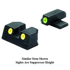 Mako Group Meprolight Tru-Dot Night Sight Suppressor Height GLOCK 17/22/31/37 Green/Yellow Tritium Enhanced Black