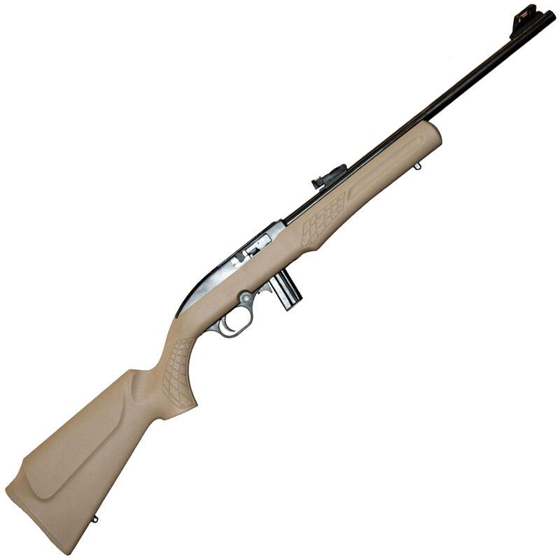 "Rossi RS22 Semi Auto Rimfire Rifle .22 LR 18"" Barrel 10 Rounds Fiber Optic Sight FDE Synthetic Stock Matte Black Finish"
