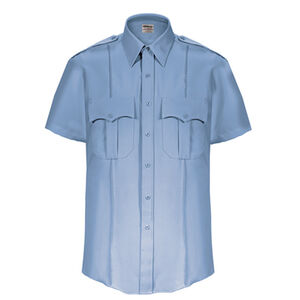 Elbeco Textrop2 Men's Short Sleeve Shirt Neck 15.5 100% Polyester Tropical Weave Blue