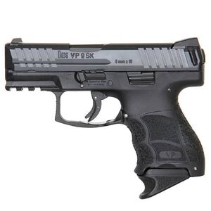 """H&K VP9SK Semi Auto Pistol 9mm Luger 3.39"""" Barrel 10 Rounds Striker Fired 3-Dot Sights Polymer Frame Black Finish"""
