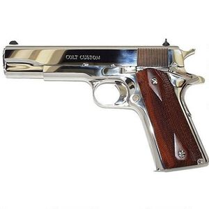 """Colt Government .38 Super Semi Auto Pistol 5"""" Barrel 9 Rounds Checkered Wood Grips Bright Stainless Steel Finish"""