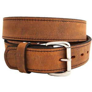 "Versacarry Double Ply Belt 1.5"" Exotic Water Buffalo Chrome Plated Buckle Size 40 Distressed Brown 502/40"