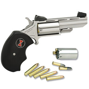 """North American Arms Black Widow Revolver Single Action .22LR/.22WMR 2"""" 5 Rounds Black Rubber Grips Stainless Finish Adjustable Sights"""