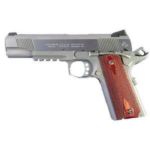 "Colt Rail Gun SS .45 ACP Semi Auto Pistol 5"" National Match Barrel 7 Rounds Rosewood Grips Stainess Steel"