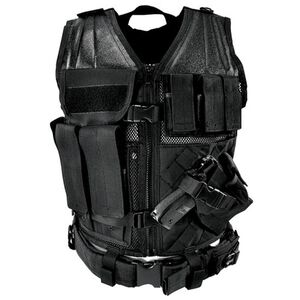 NcSTAR Tactical Vest with Magazine Pouches, Holster and Pistol Belt Black Finish