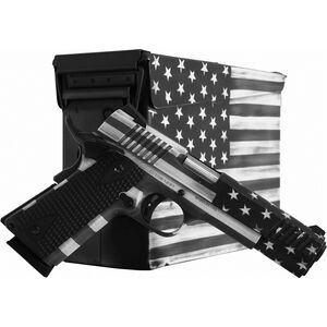 "Citadel M-1911 Government .45 ACP Full Sized 1911 Semi Auto Pistol 5"" Barrel 8 Rounds Black G10 Synthetic Grips US Flag Grayscale Battleworn Finish"