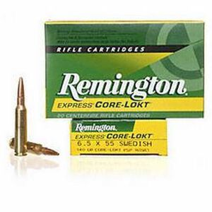 Remington Express 6.5x55 Swedish Ammunition 20 Rounds 140 Grain Core-Lokt PSP Soft Point Projectile 2550fps