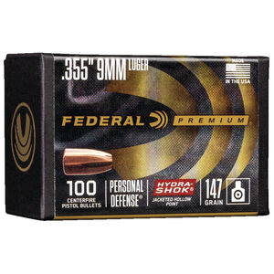 """Federal Hydra-Shok Bullets 9mm Caliber .355"""" Diameter 147 Grain Hydra-Shok Jacketed Hollow Point Projectile 100 Count Per Box"""