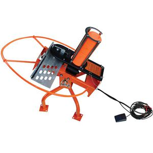 Do-All Outdoors Fowl Play Automatic Trap Clay Target Thrower 25' Foot Pedal Release 25 Target Capacity 55 Yard Range Aircraft Aluminum Hi-Viz Orange Finish FP25