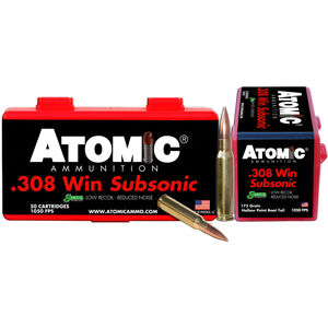 Atomic Subsonic .308 Winchester Ammunition 50 Rounds 175 Grain Sierra MatchKing Boat Tail Hollow Point 1050fps