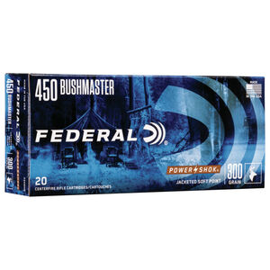 Federal Power-Shok .450 Bushmaster Ammunition 20 Rounds 300 Grain Jacketed Soft Point 1900fps