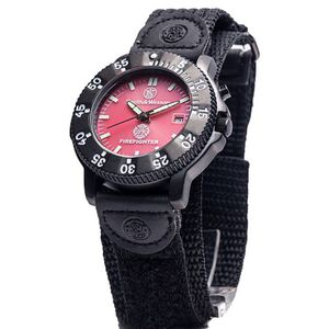 Smith & Wesson Men's Fire Fighters Watch with Nylon Strap Water Resistant S&W Logo Fire Fighters Logo Red Face SWW-455F