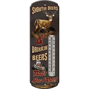 """River's Edge Products Nostalgic """"Shootin Deers"""" Thermometer Tin 5 Inches x 17 Inches 1339"""