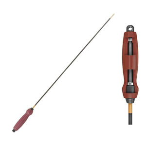 """Tipton Deluxe One Piece Carbon Fiber Cleaning Rod .17 to .20 Caliber Threaded 5-40 36"""" Long Carbon Fiber Rob Polymer Handle Dark Red"""