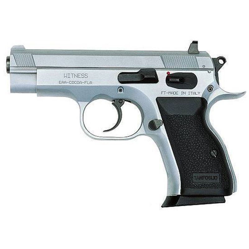 "EAA Witness Compact Semi Auto Pistol 10mm 3.6"" Barrel 12 Rounds Rubber Grip Steel Wonder Finish 999230"